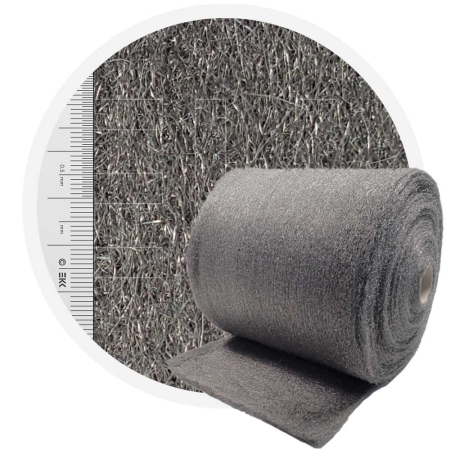 Stainless Steel Wool 1.4113 crossed 400 mm - 70 μm, ± 1200 gr/m2